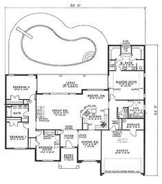 Mediterranean Style House Plan - 4 Beds 2.5 Baths 2388 Sq/Ft Plan #17-1134 Floor Plan - Main Floor Plan - Houseplans.com