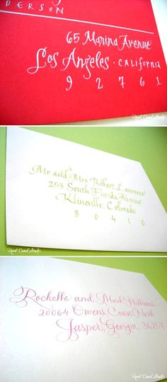 Addressing wedding invitations with colorful envelopes and calligraphy inks from Real Card Studio...