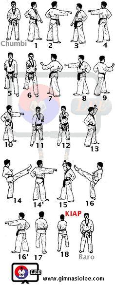 Taeguk Il Chang. 1º pumse Korean Martial Arts, Mixed Martial Arts, Martial Arts Workout, Boxing Workout, Aikido, Tai Chi, Jiu Jitsu, Taekwondo Techniques, Taekwondo Training