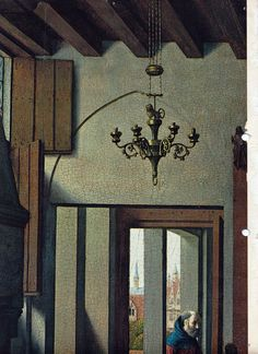 Petrus Christus, ca 1425-1476. Note the door frame and the chandelier with counterweight system.
