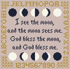 I See the Moon (and the Moon Sees Me) Cross Stitch Chart. $5.00, via Etsy.