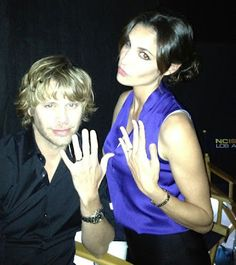 this pic with Daniela Ruah Eric Christian Olsen was shared by Kensi Deeks flaunting a little wedding bling. Ncis Los Angeles, Narnia Cast, Kensi Blye, Arrow Tv Shows, Ncis Cast, Eric Christian Olsen, Daniela Ruah, Ncis New, Los Angeles Neighborhoods