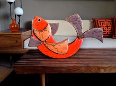 MOD Vintage Paper Mache GIANT FISH Hippie Home Decor 1960s 60s 1970s 70s Orange Brown Mid Century Modern Accessory