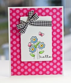 Love the bright polka dot paper and cute stamping!