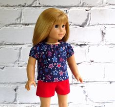 Patriotic Doll Shirt, American Girl Doll Clothes Peasant Top in Red Silver Blue, 4th of July Shirt