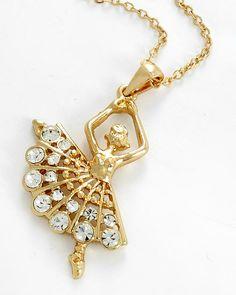 Gold Tone / Clear Rhinestone / Lead&nickel Compliant / Ballerina Pendant / Necklace