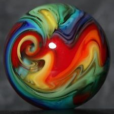 "Dusty Gamble #1753 | Handmade Lampwork Glass Marble | Rainbow Catalyst | .87"" Marbles Images, Marble Board, Marble Games, Glass Floats, Glass Pumpkins, Glass Artwork, Glass Marbles, Glass Paperweights, Glass Collection"