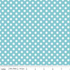 Riley Blake Designs - Dots - Small Dots in Aqua