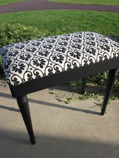Redoing a Piano Bench; Wood to Black- from Drab to Fab! Refurbished Furniture, Recycled Furniture, Furniture Projects, Furniture Makeover, Home Projects, Painted Furniture, Diy Furniture, Reupholster Furniture, Furniture Repair