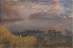 Alfred William Hunt, 1871 - View of the Bay of Naples with Vesuvius, Smoking, in the Distance (Evening) - Watercolor with touches of gouache over graphite on paper.