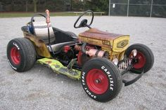The Diesel Weasel Mow-Cart is Home-Built Rat Rod Mayhem - Hot Rod NetworkYou can find Rat rods and more on our website.The Diesel Weasel Mow-Cart i. Rat Rod Trucks, Rat Rod Pickup, Rat Rod Cars, Pedal Cars, Diesel Trucks, Diesel Rat Rod, Big Trucks, Dodge Diesel, Semi Trucks