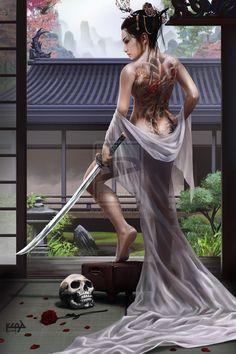 Asian inspired fantasy art and illustrations  http://scarypet.deviantart.com/art/Onna-Oyabun-465042791