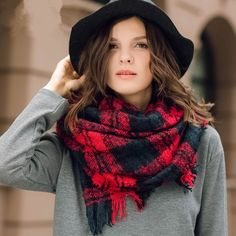 http://www.buyhathats.com/red-and-black-plaid-scarf-women-winter-shawl.html