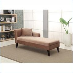 Armen Living Microfiber Patterson Chenille Chaise in Brown : dillan chaise - Sectionals, Sofas & Couches