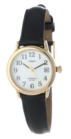 6b9ad5ef84b3 Timex Women s T2H341 Easy Reader Black Leather Strap Watch Accesorios