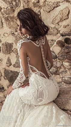 corona borealis 2018 bridal long sleeves illusion sweetheart neckline full embellishment glamorous fit and flare wedding dress sheer button back royal train (7) zbv #weddinggowns