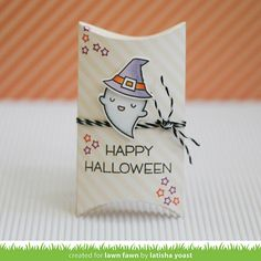 A Halloween pillow box that I created using dies, stamps & copic markers Halloween Treat Bags, Halloween Cards, Easy Halloween, Holidays Halloween, Halloween Witches, Halloween Projects, Lawn Fawn Blog, Thanksgiving Greetings, Lawn Fawn Stamps