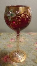 Beautiful Vintage Czech Bohemian Ruby Red Glass Gold  Hand Painted Wine Glass