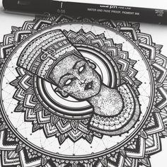 WIP - was feeling a #Nefertiti feel with #mandala. Thought I'd do the shading in the face with patterns rather than the standard stippling.