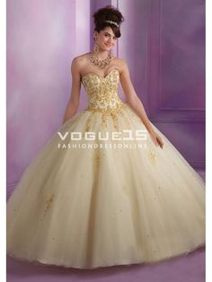2015 champagne/gold quinceanera dress ball gown embroidery with ...