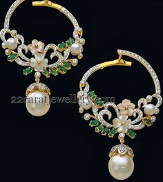 South Indian Jewellery Designs: Hoops and Diamond Earrings Sets Pearl Jewelry, Indian Jewelry, Wedding Jewelry, Diamond Jewelry, Antique Jewelry, Gold Jewelry, Vintage Jewelry, Jewelry Accessories, Fine Jewelry