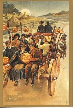 Halloween Hayride vintage postcard.  #Halloween #vintage