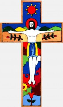 Crucified Christ  Hand Painted Wooden Cross 25cm