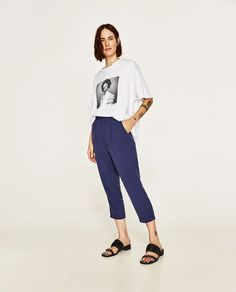 73fe03561a ZARA - WOMAN - CROPPED TROUSERS WITH STRETCH WAIST Blue Pants