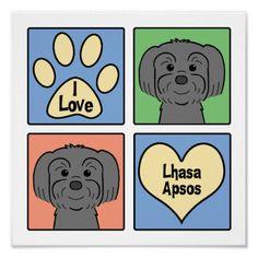 I Love Lhasa Apsos Print