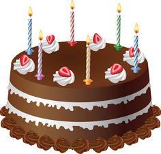 Chocolate Cake with Candles Art PNG Large Picture