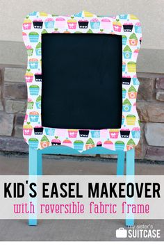 Girly art easel made with a removable fabric frame.