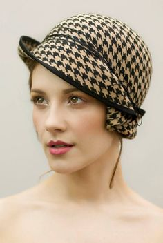 Cloche Hat Felt Hat Houndstooth Check Pattern by MaggieMowbrayHats