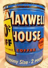 Vintage Maxwell House 2lb Keywind Coffee Tin Can #21