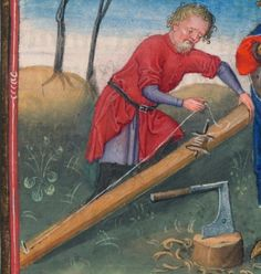 Measuring timber. Circa 1440. Detail from Catherine of Cleves Hours Morgan Library MS M.917 pp. 104-105