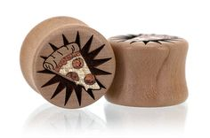 Pizza Slice -Pepperoni Wood Plugs Gauges from Omerica Organic. Use Rep Code SWEETLE at checkout for 20% off your first purchase!