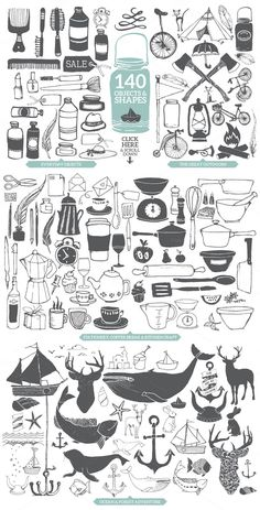 140 objects and shapes including everyday objects, outdoors, stationery, coffee break and kitchen craft, ocean and forest adventure.