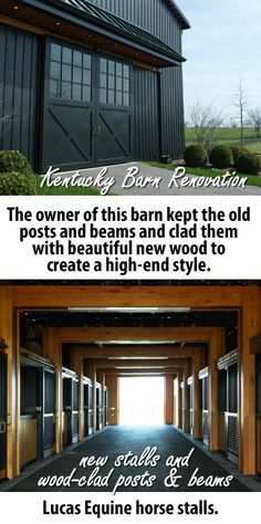 KY Barn Renovation. Tobacco barn renovated into horse barn. Lucas Equine horse stalls.