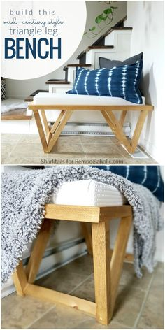 Free Building Plan And Tutorial, Mid Century Modern Inspired Triangle Leg Bench … – Furniture - Diy Furniture Modern Furniture, Diy Modern Furniture, Diy Furniture, Woodworking Diy Furniture, Diy Bench, Furniture Plans, Modern Bench Diy, Woodworking Bench, Diy Furniture Projects