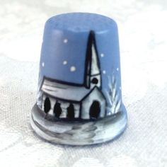 1982 Joel White on Blue Ceramic Vintage Thimble Christmas Holiday Church Pierced