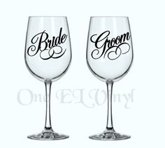DIY Decals - Bride and Groom (or 2 Brides or 2 Grooms) Vinyl Decal for Wine Glass Wedding Decor Glass NOT Included Vow Examples, Wedding Vows Examples, Real Wedding Vows, Diy Wedding, Wedding Ideas, Diy Wine Glasses, Nontraditional Wedding, Vinyl Decals, Wedding Decorations
