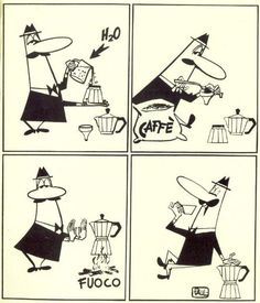 Vintage Bialetti moka cartoon shows you how to make the proper Italian espresso