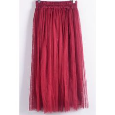 Dark Red Solid Color Mesh Spring Skirt (€10) ❤ liked on Polyvore featuring skirts, high waisted midi skirt, pleated skirt, red skirt, high-waist skirt and mesh midi skirt