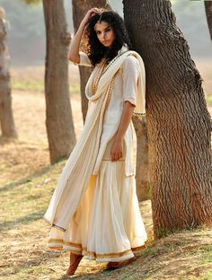 Cream-Golden Gota Embellished Cotton Kurta-Elasticated Waist Sharara & Crinkled Dupatta Set of 3