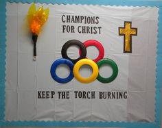 Kids Bulletin Boards, Christian Bulletin Boards, Preschool Bulletin, Bullentin Boards, Sunday School Classroom, Sunday School Lessons, Kids Church Rooms, Church Camp, Theme Sport