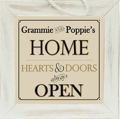 Personalize with grandparents' names and they will surely love this 8x8 distressed wood sign to welcome family to their home. Where doors and hearts are always open! From The Grandparent Gift Co.