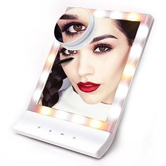 Lighted Makeup Mirror, Witmoving Touch Screen Vanity Mirrors with Wall Mount & Tabletop Stand , 3 Mode Lighting , 18 Pcs Led + 10x Magnification for Desktop ,Bathroom ,Shaving. 【Eye-care & 3 Mode Lighting Set】Glare-free fluorescent lighting with 3 light settings for color correct lighting selections that are, match day and night,bedroom or office environments.Mirrors with Steady lights for your makeup more natural. 【Wall Mount or Countertop】Hang the Mirror on the wall for shaving. Adjust…