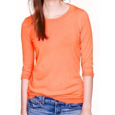 "J Crew Orange Tippi Sweater Looks very new. No signs of wear. Super cute J. Crew ""Tippi"" sweater. Very bright tangerine orange color. 3/4 length raglan style sleeves. Wider ribbed neckline. Soft 100% merino wool. Popular sweater worn on TV and by celebs. Size medium. +All offers welcome J. Crew Sweaters Crew & Scoop Necks"