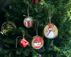 Hand-painted Wood Slice  Ornaments  Holiday Decor by mimarcaisler