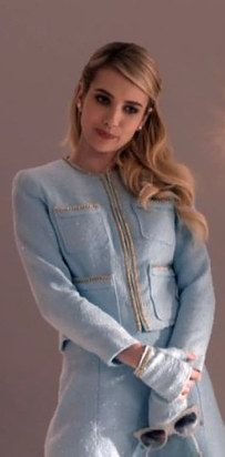 """This A+ blue suit worn by queen bee, Chanel Oberlin. 