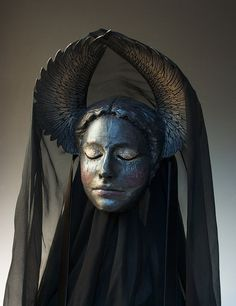 Death Weeps by Cyndy Salisbury of The Art of The Mask on Etsy. Materials: wool and parchment papers, silk, ribbon, crystals